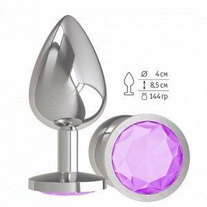 Большая серебряная пробочка с сиреневым круглым кристаллом