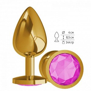 Большая золотая пробочка с розовым круглым кристаллом