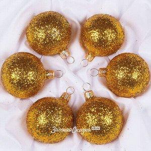 Набор стеклянных елочных шаров Солнечный 6*50 мм (Фабрика Елочка)