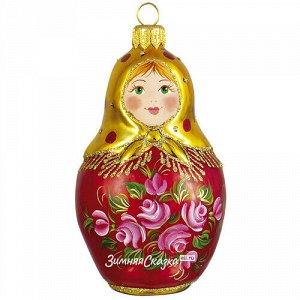 Стеклянная елочная игрушка Матрёшка - Чайная Роза 11 см, подвеска (Фабрика Ариэль)