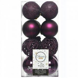 Набор пластиковых шаров Анданте 6 см сливовый, 16 шт (Kaemingk)