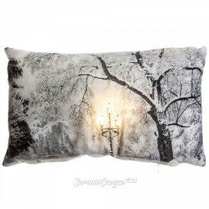 Новогодняя светящаяся подушка Снежный Парк 50*30 см на батарейках, теплые белые LED лампы (Kaemingk)