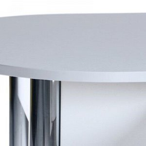 Стол Овальный с ящиком 1000х600х750 Хром/Белая радика