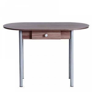 Стол Овальный с ящиком Эконом 1000х600х750 Металик серый/Ясень шимо темный