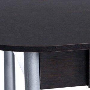 Стол Овальный с ящиком Эконом 1000х600х750 Металик серый/Венге