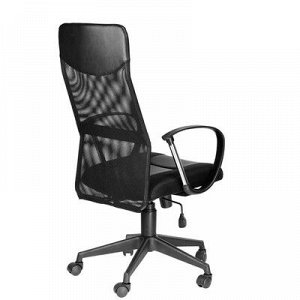 """Кресло """"Оксфорд Б"""" экокожа lux чёрная/тканьTW-11, с механизмом качания"""