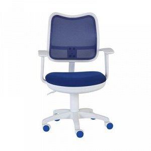 Кресло Бюрократ, с подлокотникам, синий, спинка сетка, белый пластик, CH-W797/BL/TW-10
