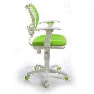 Кресло Бюрократ, с подлокотникам, салатовый, спинка сетка, белый пластик, CH-W797/SD/TW-18