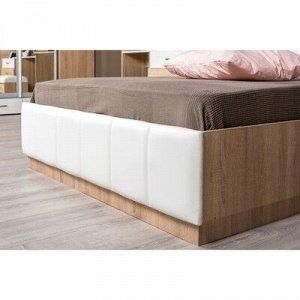Кровать 160 Линда с ПМ, 2094х1682х908, Дуб сонома/Белый кож зам