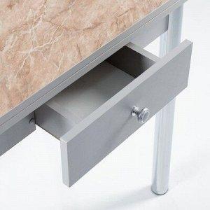 Стол ломберный с ящиком 790(1180)х590х750, хром/пластик змеевик бежевый