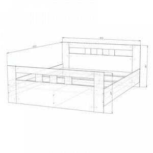 Кровать 1600 Сопрано, 1634х801х2032, Дуб сонома/Белый
