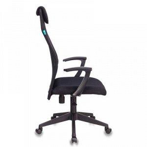 Кресло руководителя Бюрократ, черный, спинка сетка, KB-8N/BLACK, TW-01 TW-11