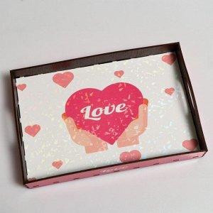 """Поднос с ручками """"Love, сердечко"""", деревянный, 30,4х20,4х4,7см"""