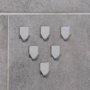 Набор крючков на липучке Доляна «Лофт», 6 шт, металлические