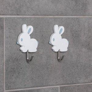 Набор крючков на липучке «Зайчики, барашки», 2 шт, форма и цвет МИКС