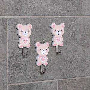 Набор крючков на липучке «Медведи», 3 шт, рисунок МИКС