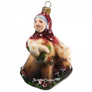 Стеклянная ёлочная игрушка Баба-Яга 12 см, подвеска (Фабрика Ариэль)
