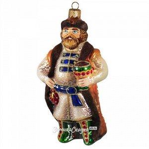 Стеклянная елочная игрушка Князь в соболях 12 см, подвеска (Фабрика Ариэль)