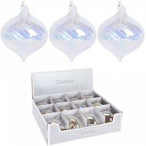Набор стеклянных шаров Луковки Вивальди 8 см прозрачный перламутр 12 шт (Koopman)
