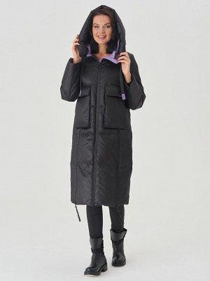 Пальто черный/фиолетовый S-L