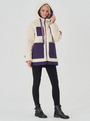 Куртка молочный/фиолетовый S-L