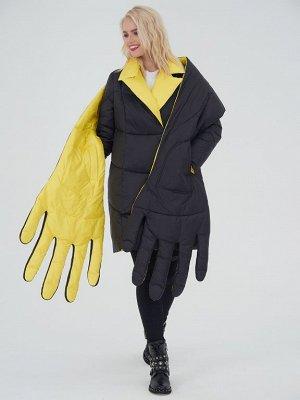 Пальто с шарфомв комплекте черный/желтый S-XL
