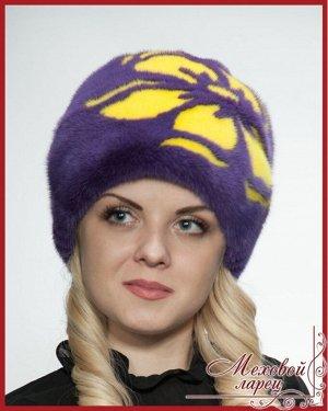 """Шапка Роуз фиолетовый + жёлтыйартикул: 2029; материал: атлас; мех: норка; размеры: 55 - 60 Если Вы хотите выделиться, то наверняка обратите внимание на мех ярких расцветок. Головной убор """"Роуз"""", выпол"""
