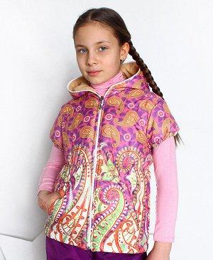 Теплый жилет с капюшоном для девочки 7501-ДО15