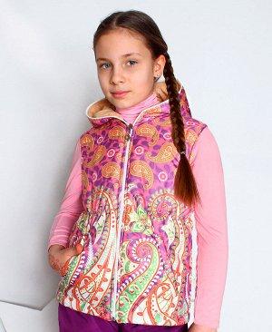 Теплый жилет с капюшоном для девочки 7502-ДО15