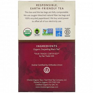 Choice Organic Teas, Black Tea, Organic Darjeeling, 16 Tea Bags, 1.12 oz (32 g)