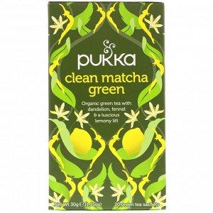 Pukka Herbs, Зеленый чай матча, 20 пакетиков зеленого чая, 1,5 г (0,05 унций) каждый