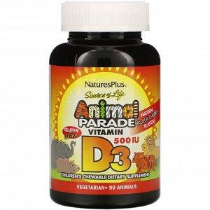 Nature&#x27 - s Plus, Source of Life, Animal Parade, витамин D3, вкус натуральной черемухи, 500 МЕ, 90 животных