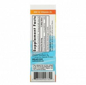 Nordic Naturals, витамин D3 в каплях, для детей, 400 МЕ, 11 мл (0,37 жидк. унции)