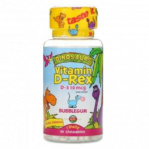 KAL, Vitamin D-Rex, Bubblegum, 400 МЕ, 90 жевательных таблеток