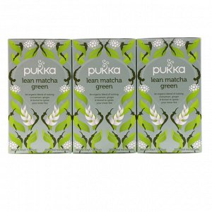 Pukka Herbs, Стандартный зеленый чай матча, 3 пакета, по 20 пакетиков-саше с травяным чаем каждый