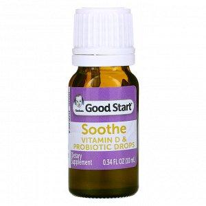 Gerber, Soothe, пробиотические капли с витамином D, для младенцев с рождения, 10 мл (0,34 жидк. унции)