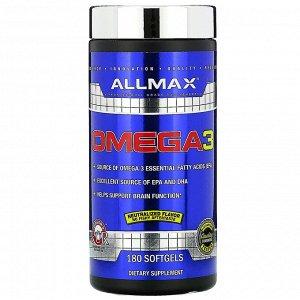 ALLMAX Nutrition, рыбий жир с омега-3 кислотами, сверхчистый рыбий жир из холодноводной рыбы, 180 мягких желатиновых капсул