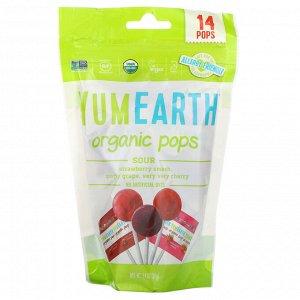 YumEarth, Органические кислые леденцы, ассорти вкусов, 14 леденцов, 85 г (3 унции)