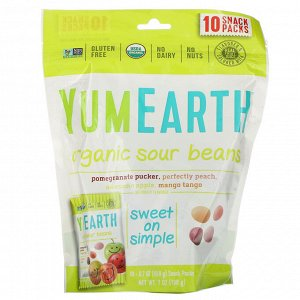YumEarth, Органическая маринованная фасоль, ассорти вкусов, 10 упаковок снеков, 19,8 г (0,7 унции) каждая