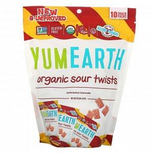YumEarth, Органические кислые завитушки, Арбузный лимонад, 10 упаковок с перекусом, 0,7 унц. (19,8 г) каждый