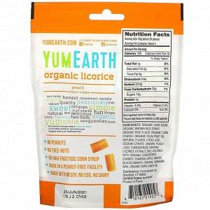 YumEarth, Мягкая пищевая персиковая лакрица без глютена + Вкусно, 5 унций (140 г)