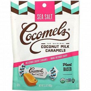 Cocomels, Органическая карамель с кокосовым молоком, с морской солью, 3,5 унц. (100 г)