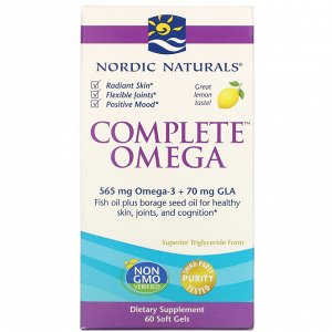 Nordic Naturals, Complete Omega, со вкусом лимона, 1000 мг, 60 гелевых капсул