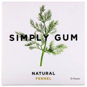 Simply Gum, Жевательная резинка, Натуральный фенхель и лакрица, 15 штук