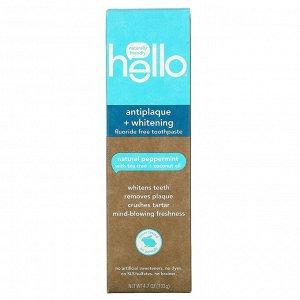 Hello, Отбеливающая зубная паста, защищающая от зубного налета, без фтора, натуральная перечная мята, 133 г