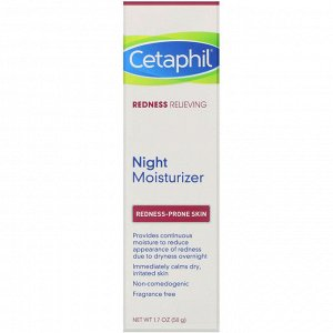 Cetaphil, Redness Relieving, Night Moisturizer, 1.7 oz (50 g)