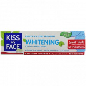 Kiss My Face, Whitening, Anticavity Fluoride Toothpaste with Xylitol, Cool Mint Gel, 4.5 oz (127.6 g)