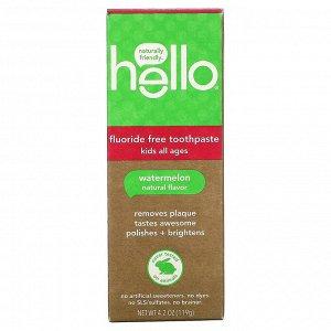 Hello, Детская зубная паста без фтора, натуральный арбуз, 119 г (4.2 oz)