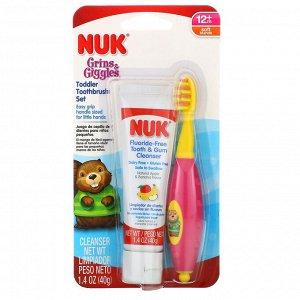 NUK, Grins & Giggles, набор зубных щеток для малышей, мягкие, от 12 месяцев, 1 очищающее средство и 1 щетка