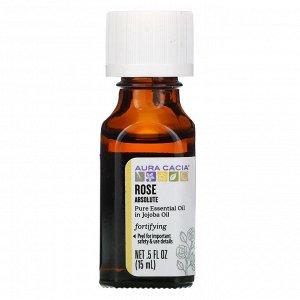 Aura Cacia, чистое эфирное масло, абсолю розы, 15 мл (0,5 жидк. унции)